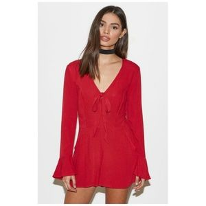 KENDALL & KYLIE Red Deep V Bow Romper Size XS
